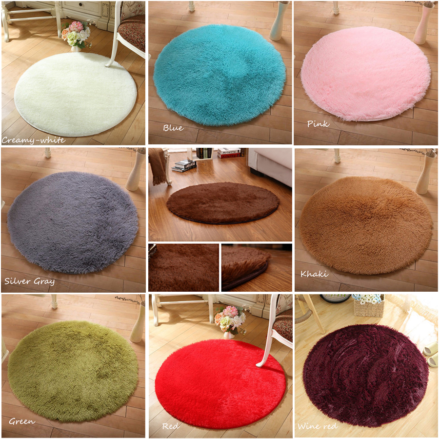 Round Solid Color Carpet 40cm/80cm/100cm for Living Room Large Size Rugs Home Decoration Yoga Mats Home Essential Tools image