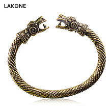 Scandinavian Peninsula Fenrir Viking Bangle Dragon War Men Women Teen Hip Hop Punk Fashion Jewelry Antique Gold Vintage Bracelet