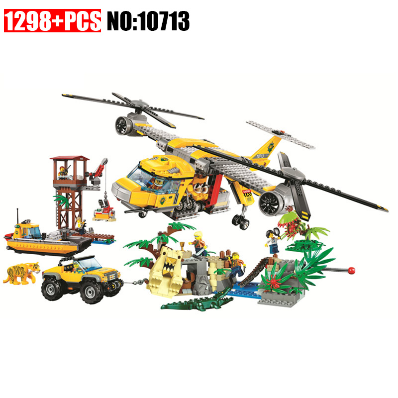 10713 1298PCS+ City Urban Jungle Air Drop Helicopter Building Blocks Bricks Compatible with 60162 Toys 1400pcs genuine city series the jungle air drop helicopter set compatible lepins building blocks bricks boys girls gifts