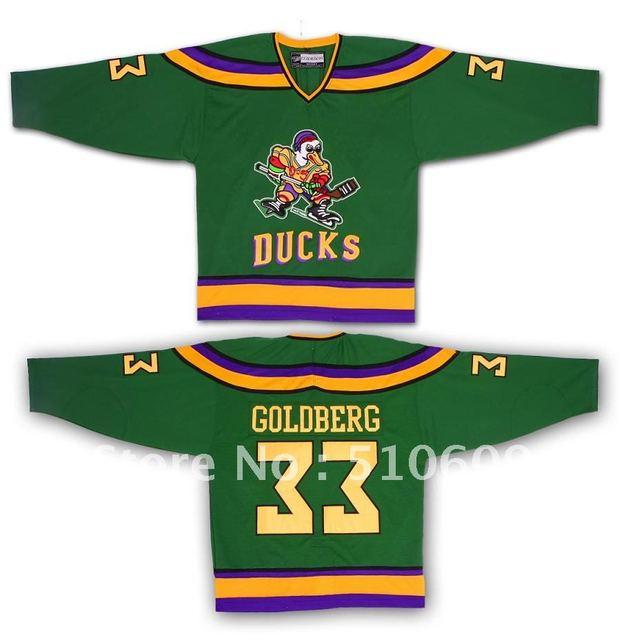 a86d5de35 Greg Goldberg  33 Disount Mighty Ducks Movie Hockey Jersey Stitch Sewn  green any size throwback ice hocey jersey