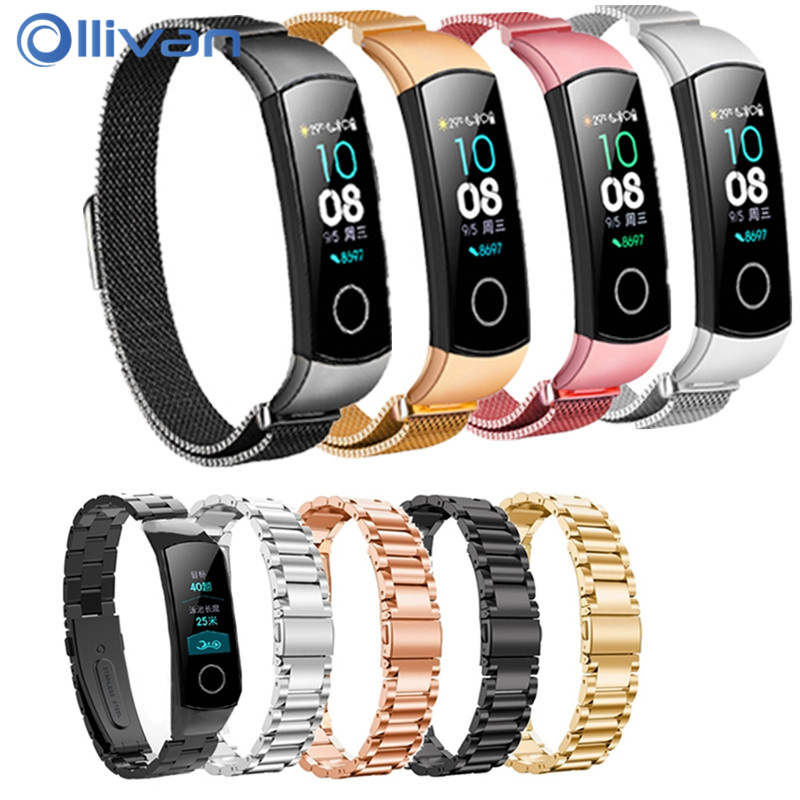 OLLIVAN For Honor Band 4 5 Strap Metal For Huawei Honor Band 4 Stainless Steel Bracelet Milanese Loop Wristband For Huawei Band4