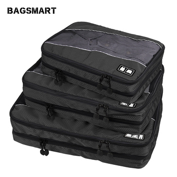 ec53436d3cbe Find Deals BAGSMART 3 Pcs Double Layer Packing Cube For Clothing Zippers Luggage  Bag For Shirt Travel Duffle Luggage Organizer For Garmen