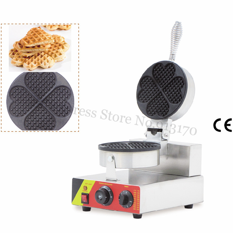 Electric Waffle Maker Stainless Steel Non-stick Waffle Machine 5 Leaf Heart Moulds CE Snack Street Waffle Baker 220V/110V 1500W commecial use non stick 110v 220v electric belgium liege waffle iron baker maker machine