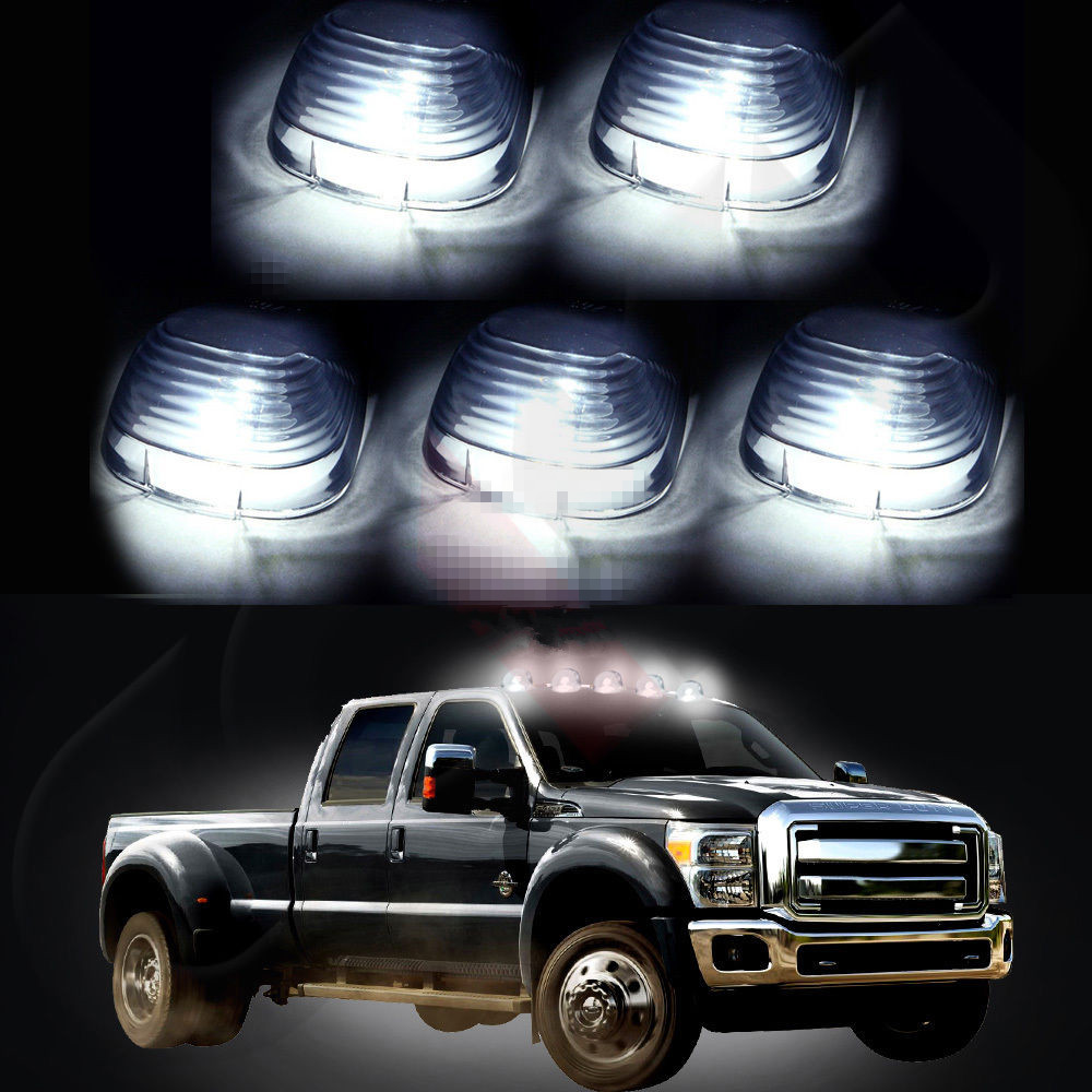 5 Smoke Roof Running Lights Cab Marker Cover+Xenon White T10 LED Bulbs for Ford