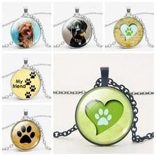 цены на LETS SLIM Fashion Pet Dog Footprints Dog Time Glass Gems Necklace Birthday Gift Pendant Necklace Welcome To Map Custom  в интернет-магазинах