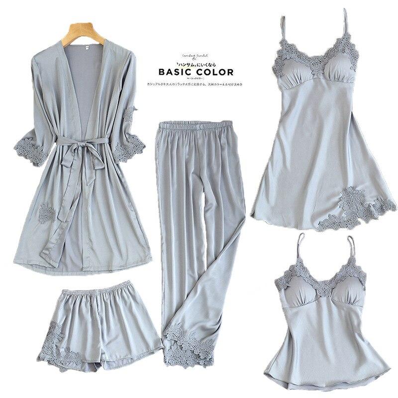 Женские пижамы, 5 шт., атласная пижама, шелковая Домашняя одежда, домашняя одежда, вышивка, Пижама для сна, для отдыха, пижама с нагрудными накладками - Цвет: Серый
