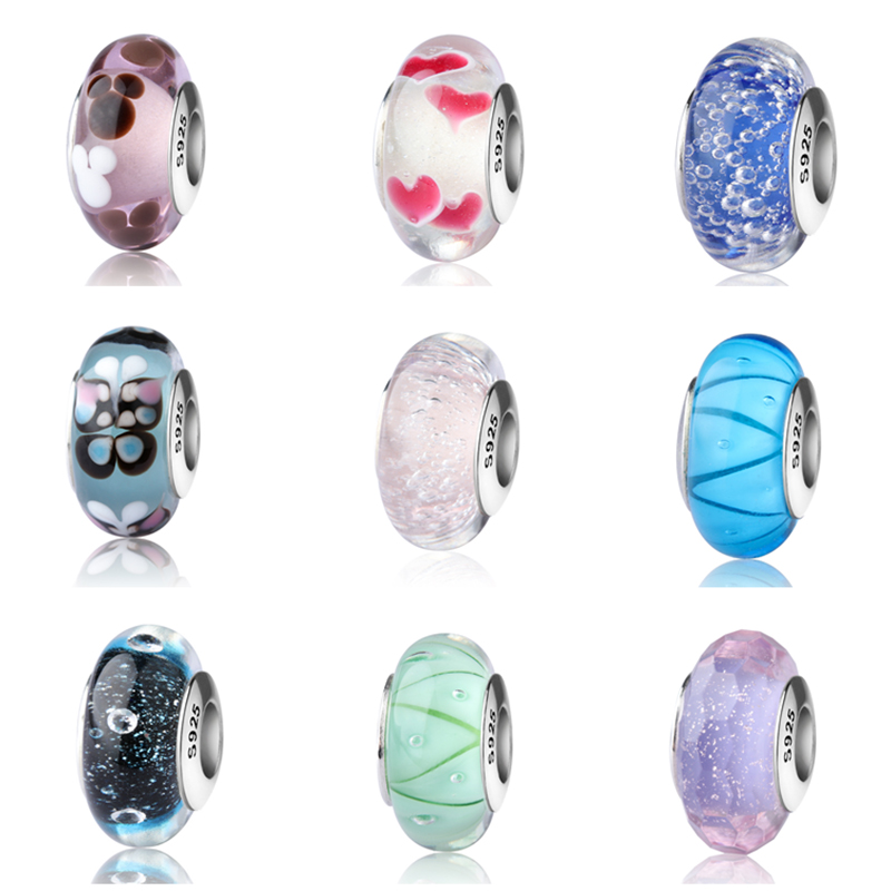 SG silver 925 sparkling Murano glass beads collection diy charms fit authentic pandora bracelets jewelry making gifts supply