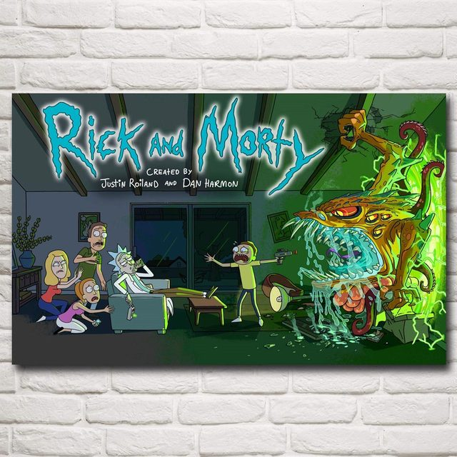 Rick and Morty Cartoon Art Silk Poster 12×19 15×24 19×30 22×35 30×48