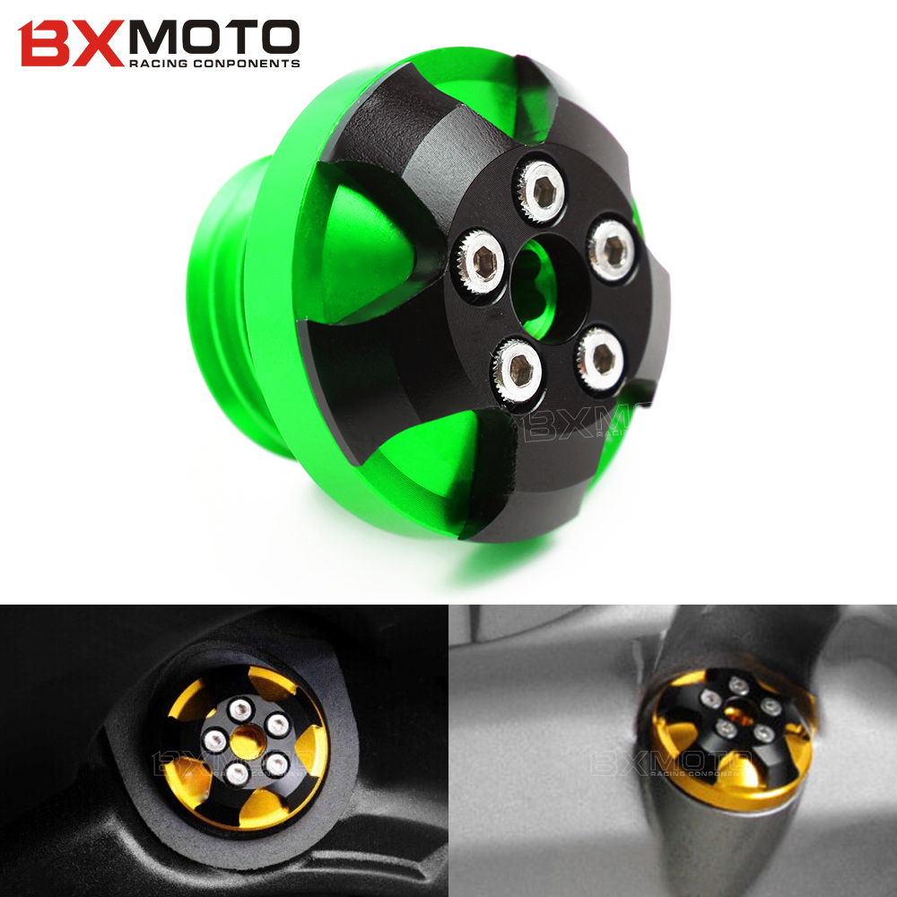 M20*2.5 motorcycle Engine Oil Cap cnc motorbike Filler Cover Screw for kawasaki versys 1000 abs z1000sx z1000 z800 ER6N/F moto motorcycle engine cover camshaft plug crankcase cap oil filler cover screw for honda cbr500r cb500f nc700 nc750 2013 2014