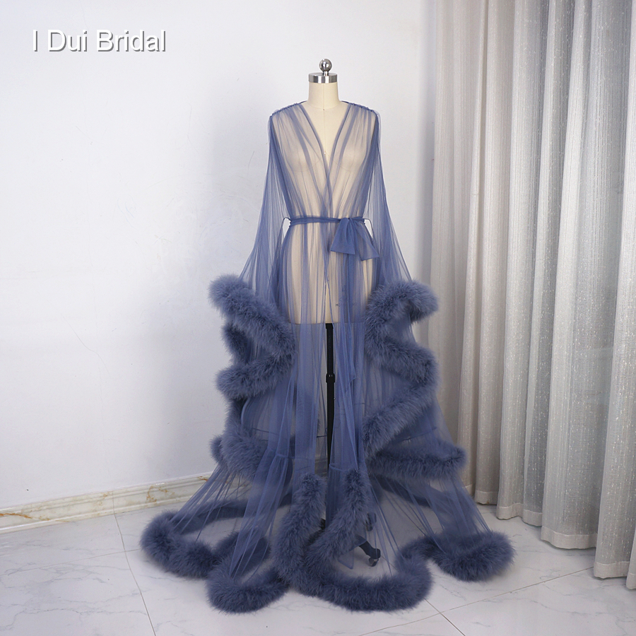 Thick Feather Evening Dress Frou Frou Long Sleeve Dressing Gown Robe Scarf Party Gown School Dance Dress(China)