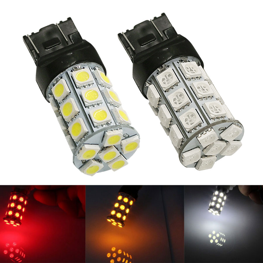 HYZHAUTO 2Pcs T20 W21/5W LED Car Lights 7443 5050 27-SMD Bulbs White Red Yellow Auto LED Rear Brake Parking Stop Lamp 12V