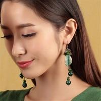 Retro National Style Green Leaves Green Glass Long Paragraph Symmetry Earrings 2017 Earrings Wholesale