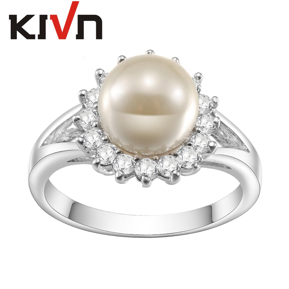 KIVN Fashion Jewelry Elegant Pave CZ Cubic Zirconia Simulated Pearl Rings for Women Mothers Girls Birthday