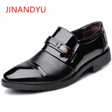 Man Dress loafer Shoes Pointed Toe Mens Patent Leather Black Business Wedding Shoes Brand Brown Oxford Formal Shoes 2019 цена