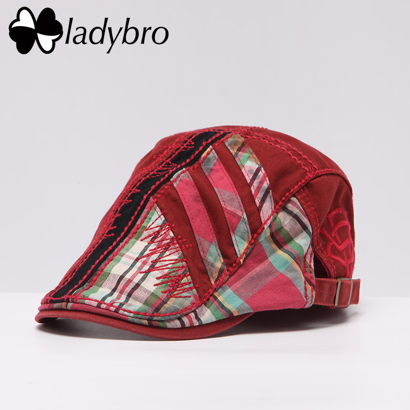 Ladybro Men Visor Cap Male Hat Women Beret Cap Cotton Patchwork Hat Spring Summer Casual Unisex High Quality Adjustable Flat Cap fashion rivets cotton polyester fiber men s flat top hat cap army green