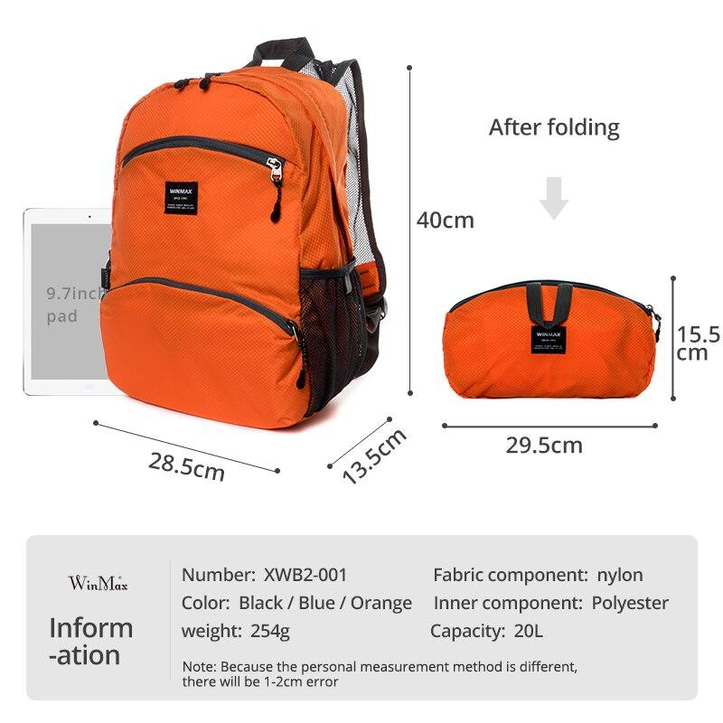 Leve dobrável mochila de viagem grande capacidade