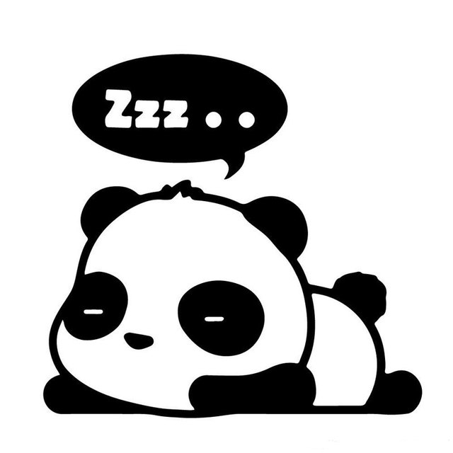 135cm13cm blacksliver cute panda zzz sleeping cartoon vinyl decal car window - Dessin De Panda Mignon
