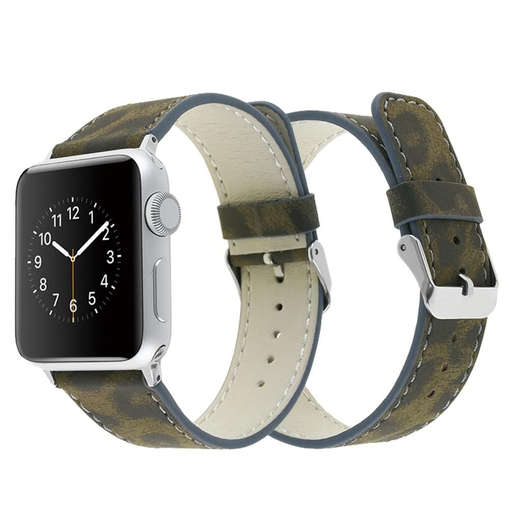CRESTED leather strap band for apple watch 3/2/1 42mm 38mm Iwatch bracelet wrist belt Leopard watchband+ Metal buckle все цены