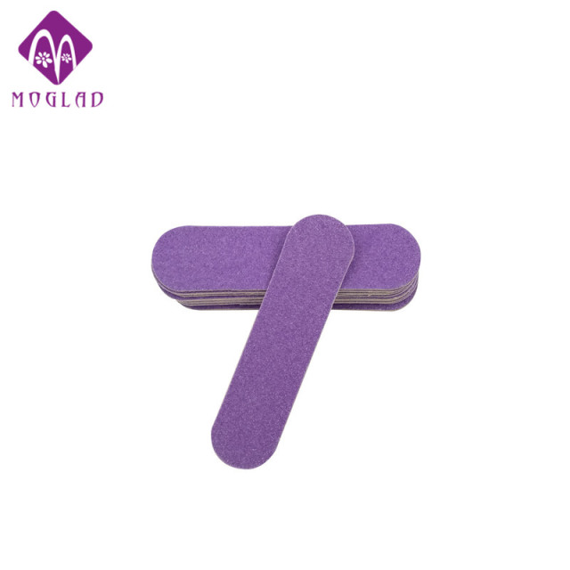Fashion 20pcs Lot Mini Purple Nail File Double Sides Cute Wood Design Buffer