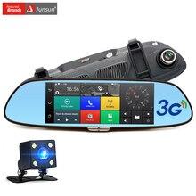 """Junsun 3g 7 """"samochód Kamera DVR z Dwoma Obiektywami GPS Bluetooth Lusterko wsteczne Rejestrator Wideo FULL HD 1080 P Samochodów DVR Lusterko Kreska cam"""