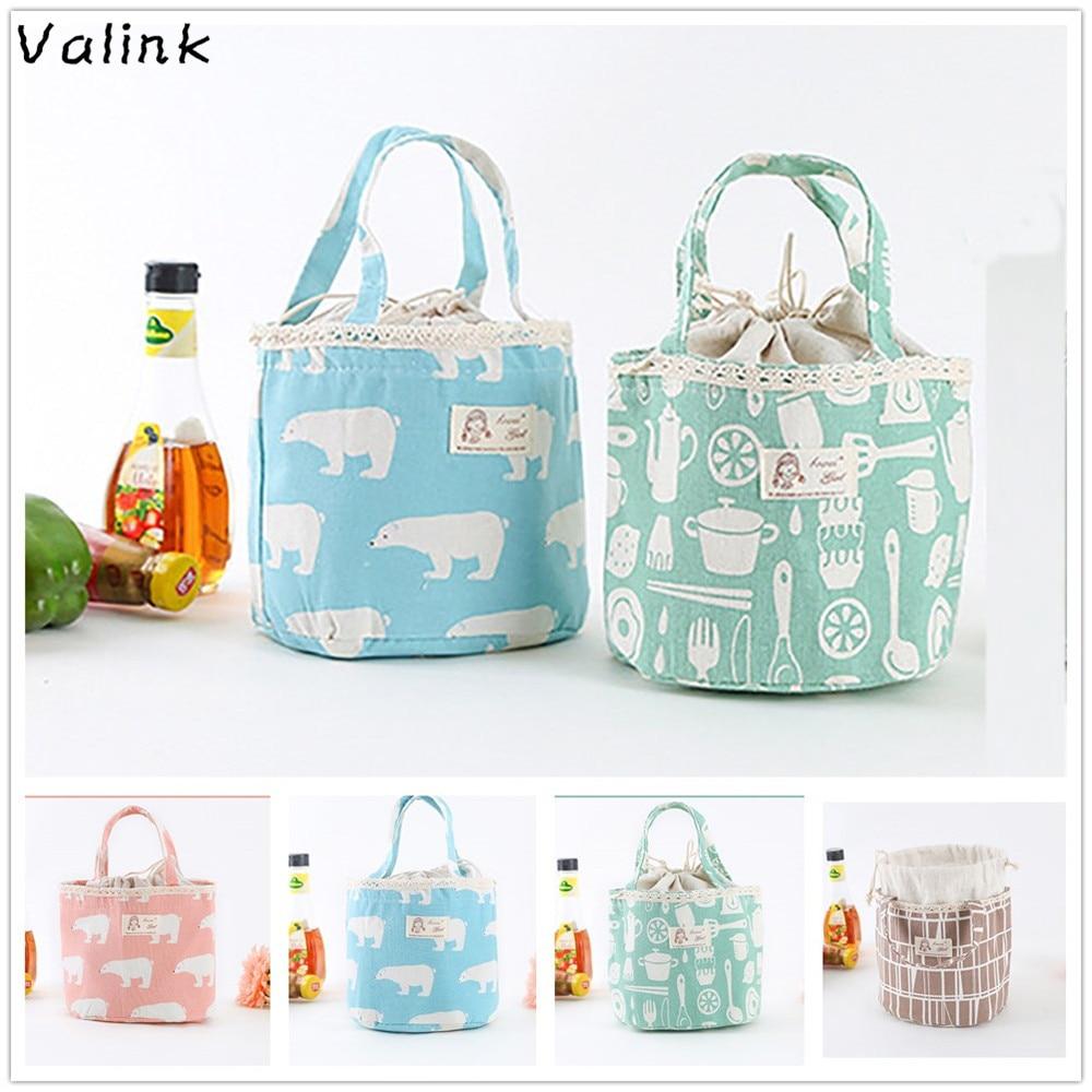 Valink 2018 Portable Cotton font b Lunch b font font b Bag b font for Women