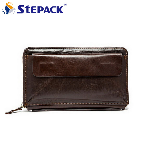 100% Genuine Leather Men Hand Bag Wallet Vintage Men Purse Card Holder With Coin Pocket Cowhide Leather Clutch Wallet WMB0132