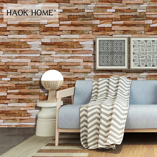 HaokHome Rustic Peel & Stick Stacked 3D Brick Wallpaper Brown/Tan Self Adhesive Contact Paper Living Room Kitchen Wall Decor