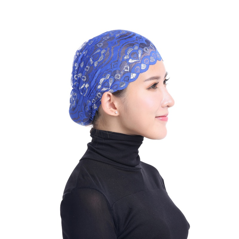 12 Colors Islamic Hijab Muslim Fashion Flower Style Soft Breathable Stretchable Lace Caps Hats Full Head Women Hijabs