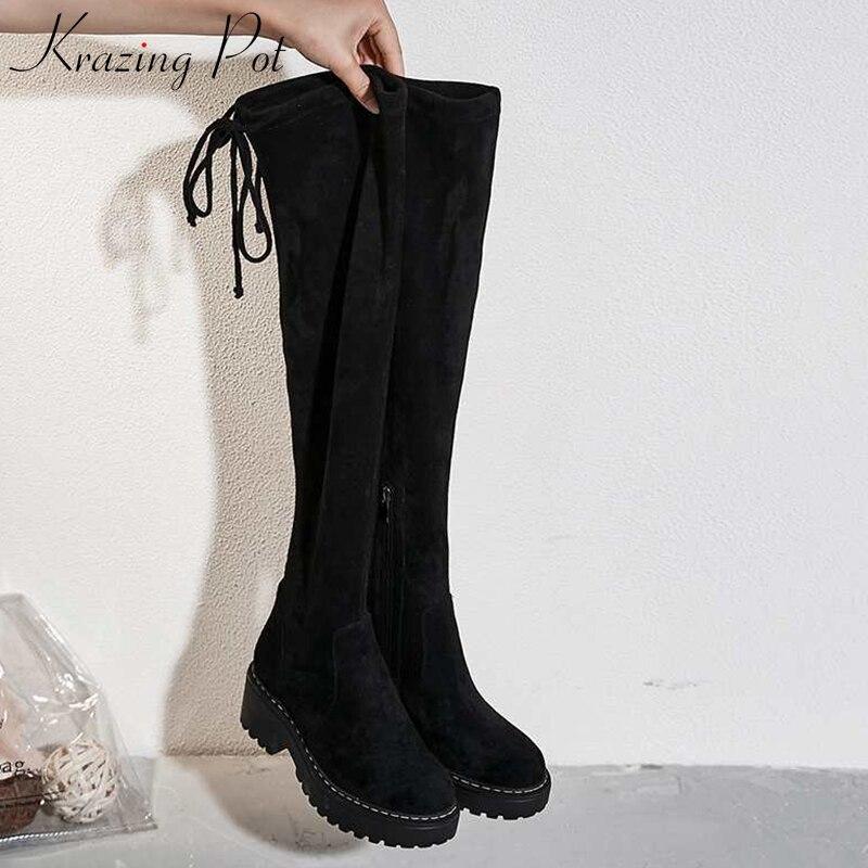 Knie Stiefel L07 Zielsetzung Krazing Topf Neue Flock Material Runde Kappe Stretch Stiefel Stil Gladiator Ofenrohr Frauen Warm Halten Mode über-die Schuhe