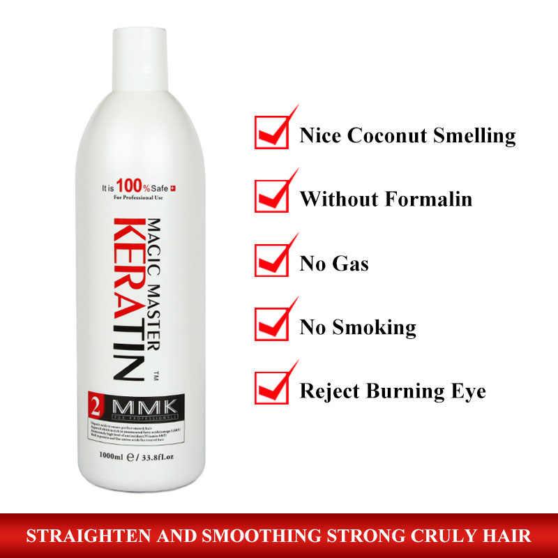Tratamiento Maestro de magia de queratina con fuerte olor + champú purificador alisa y repara el cabello rizado y obtén aceite de argán gratis