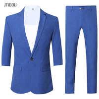 MOGU Blue Leisure Mans Suits with Three Quarter 2018 New Summer Vogue Pure Color Dress Suit Comfortable Costume Homme Marriage