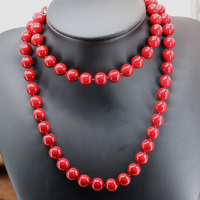 Czechy 12mm czerwone sztuczne coral kule łańcucha naszyjnik długim łańcuchu kobiet cena hurtowa charms biżuteria 36 inch B2920