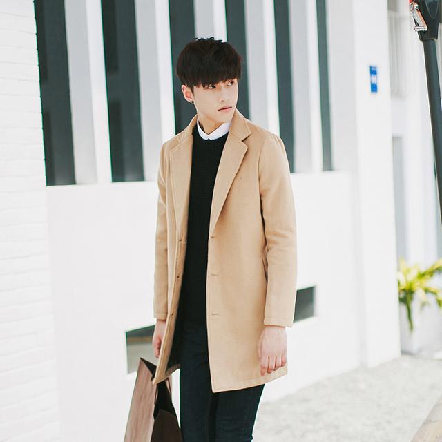 Gran tamaño S-5XL hombres de invierno boutique de moda pure color delgado de Ocio de negocios a largo paño de lana Lana Mezclas abrigos de polvo chaquetas