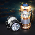Solar Rechargeable Collapsible LED Camping Lantern Flashlight Survival Lamp for Night Hiking Fishing Charging for Android Phone