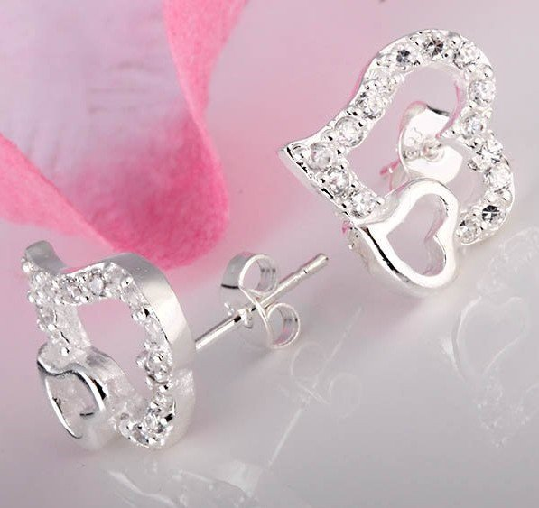 wholesale 925 Silver two heart with clear Crystal design Earrings FREE SHIPPING