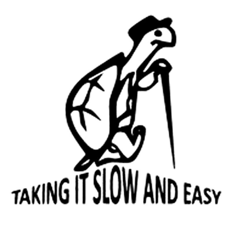 14.9CM*13.3CM Slow And Easy Vinyl Decal Sticker Funny Tortoise Car Sticker Auto Styling Cartoon Stickers Car Accessories C8-0286