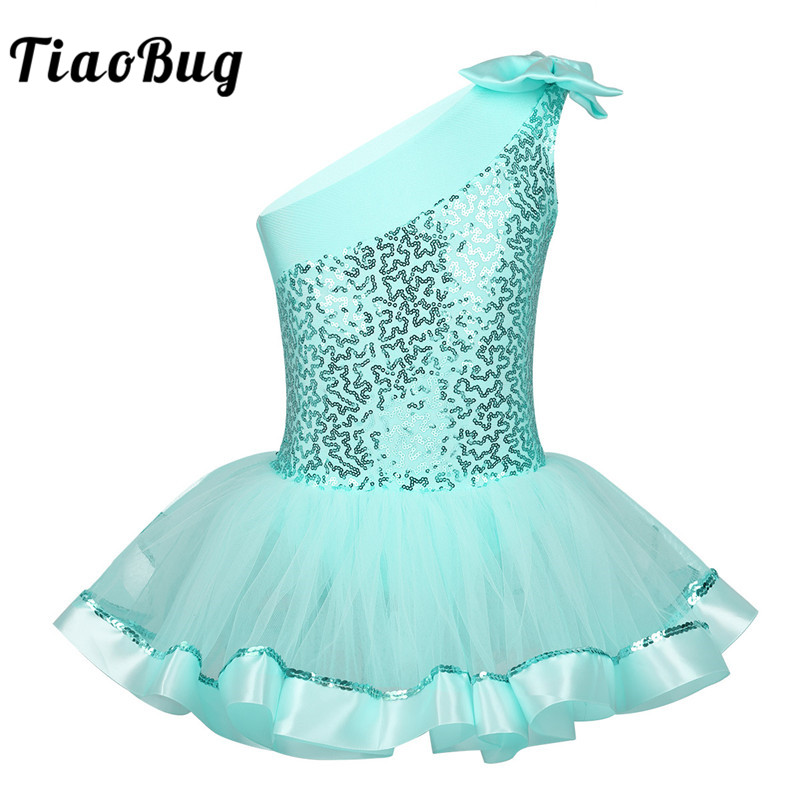 TiaoBug Kids Girls One Shoulder Ballet Tutu Dress Shiny Sequins Ballet Leotards Children Gymnastics Leotard Stage Dance Costume