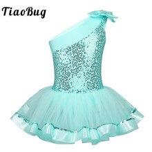 TiaoBug dzieci dziewczyny jedno ramię baletowa spódniczka tutu sukienka błyszczące cekiny trykoty baletowe dzieci gimnastyka trykot etap kostium taneczny