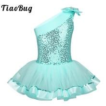 TiaoBug robe Tutu pour filles, asymétrique épaule dénudée, paillettes brillantes, justaucorps gymnastique, Costume de danse sur scène