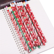5 Pcs Christmas pattern pencil Wood eraser 2H Color pencil Painting Sketch Children Pencil Student Stationery Pencil