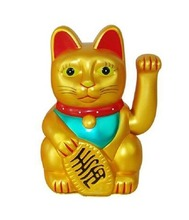 [ Fly Eagle ] KiWarm Cute Yellow Classic Lucky Wealth Electric Wink Cat Waving Beckoning Maneki Crafts Home Shop Decor Gifts