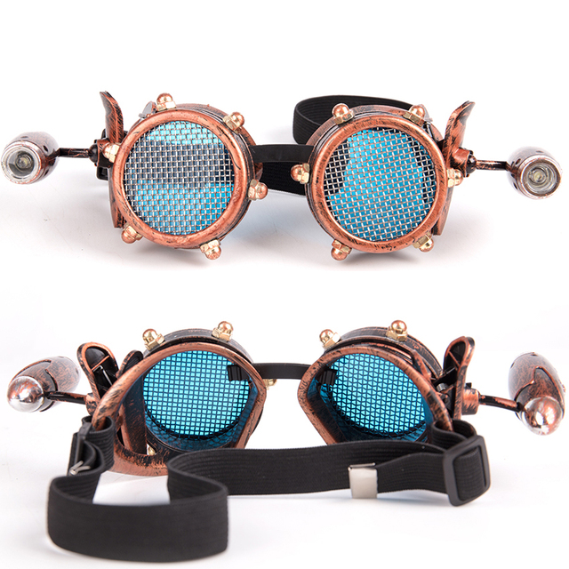 9f2cdd8bbc FLORATA Unisex Vintage Retro Victorian Gothic Cosplay Steampunk Goggles  Glasses Welding Punk With Small Lamp 2 Colors