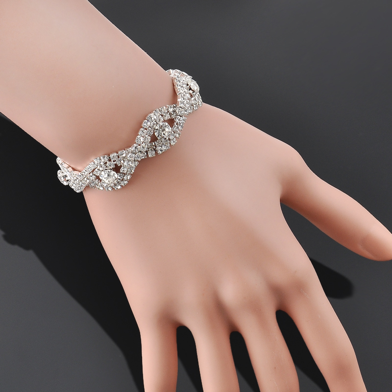 Womens Elegant Deluxe Silver Rhinestone Crystal Bracelet Bangle Jewelry for Women Girl Gift