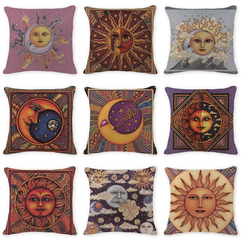 Decorative Boho Jute Pillow Shams Indistar Printed Killim Pillow Covers 16x16 Inches Sofa Throw Pillow Cases Outdoor Cushions