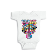 YSCULBUTOL PEACE LOVE GUITAR Cute Black and White Short Sleeve Baby Bodysuit