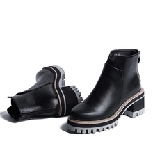 Autumn And Winter Women Shoes Vintage Fashion Ankle Boots Women Boots Thick Heel Leather Boots Female Back Zipper Shoes D75