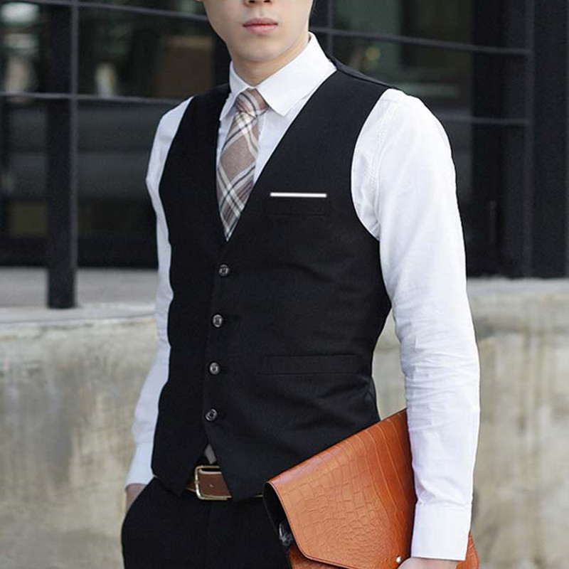 Casual Slim Suits Vests Mens Waistcoats Fitted Colete Sleeveless Jacket Formal Dressed W ...