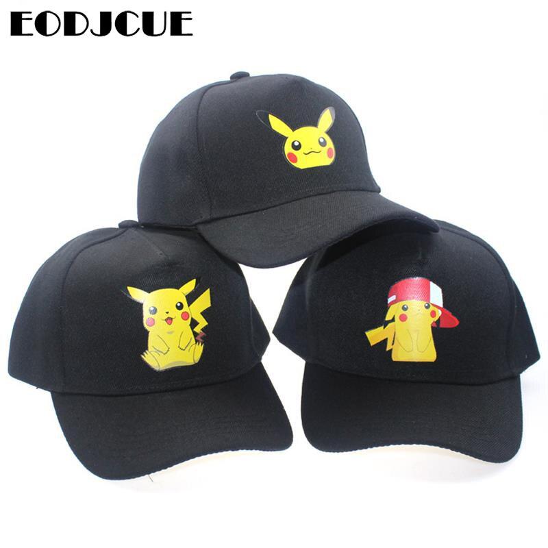 2019 Cartoon Anime Pokemon Pikachu Printing   Baseball     Caps   Hip-Hop   Cap   For Men Women Unisex Summer Snapback Sun Hats Adjustable