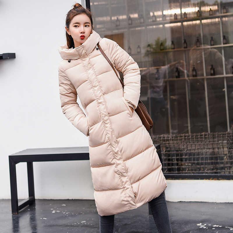 Большие размеры 3XL пуховики 2019 модное женское зимнее пальто Длинная тонкая теплая куртка пуховик с хлопковой подкладкой верхняя одежда парки