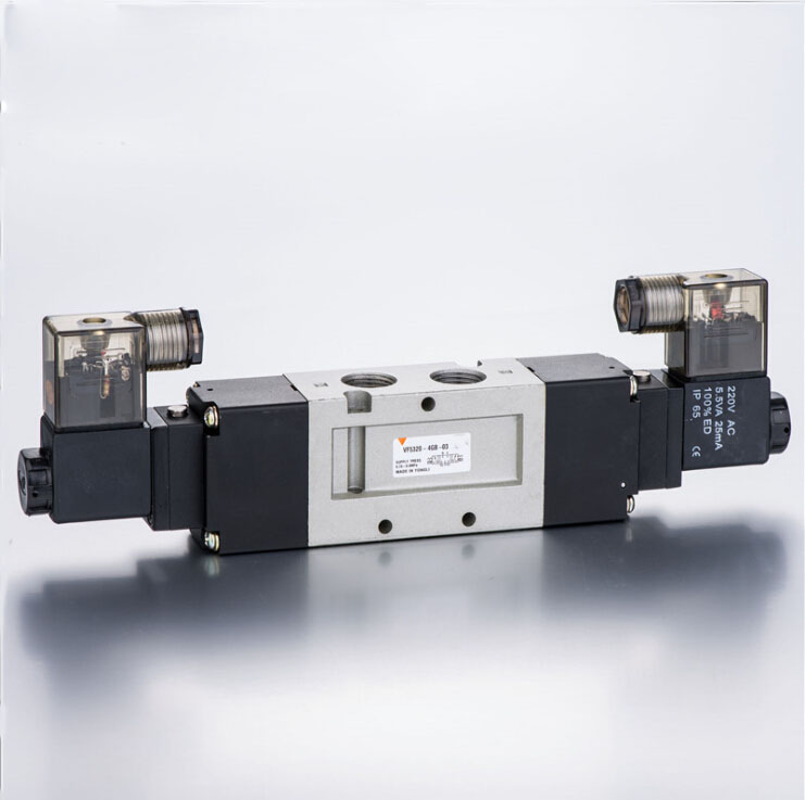 3/8 VF 3 position 5 way pilot-operated type close centre lead wire 300mm loking type B pneumatic solenoid valve coil 220V